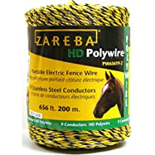 Zareba PW656Y9-Z Polywire 9-Conductor Portable Electric-Fence Rope, 200-Meter