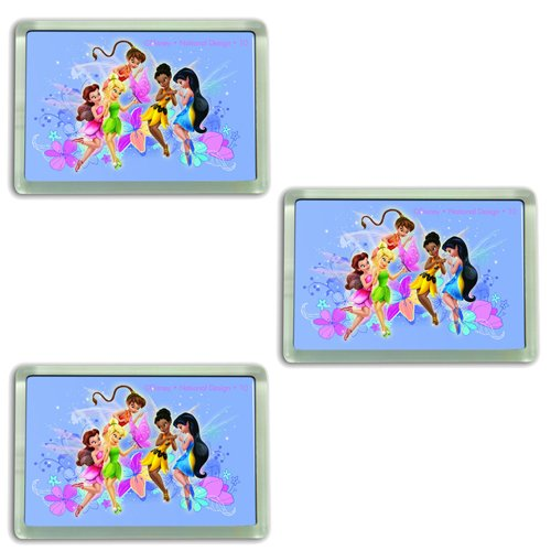 Tinker Bell and Friends Fairies Disney Cartoon Characters Acrylic Fridge Magnet - 3 PACK SET