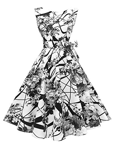 - Hanpceirs Women's Boatneck Sleeveless Swing Vintage 1950s Cocktail Dress BlackPainting 2X