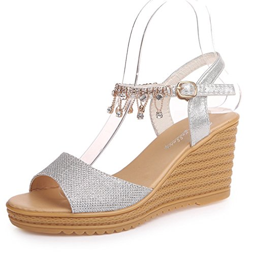 on Sandals Fashion Wedge High Womens Walking Dress Diamond Slide Peep Toe String Slip Silvery Slipppers JULY Heel T Platform 6zExqx7
