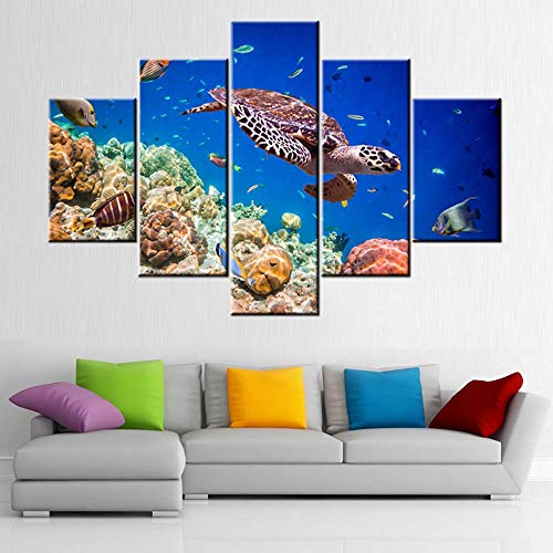 Artwork for Walls Turtle and Tropical Fishes Wall Art Seaview Pictures for Living Room 5 Piece Printed on Canvas Blue Paintings Modern Home Decor Framed Gallery-Wrapped Ready to Hang(60''Wx40''H)