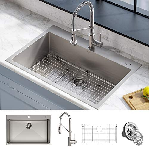 Kraus KCA-1102 Stark Dual Mount Drop Sink and Pull-Down Commercial Kitchen Faucet Combo in Stainless Steel Finish, 33″- Single Bowl US Review