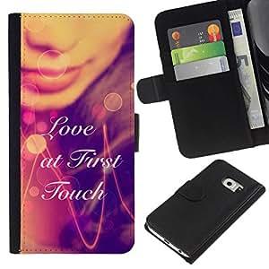 NEECELL GIFT forCITY // Billetera de cuero Caso Cubierta de protección Carcasa / Leather Wallet Case for Samsung Galaxy S6 EDGE // AMOR A PRIMERA TÁCTIL