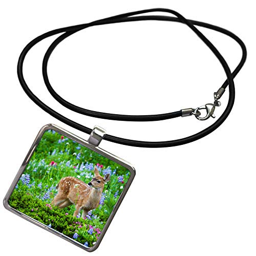 (3dRose Danita Delimont - Deer - Black-Tail Deer Fawn, Cascade Wildflowers - Necklace with Rectangle Pendant (ncl_315167_1))