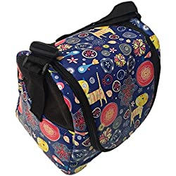HOT! Thailand Animal Cartoon Printed Puppy Kitten Sugar Glider Birds Prairie dog Marmoset Small Pet Travel Cage Shoulder Bag Soft Mesh Kennel Carrier PB's Republix (Floral (Blue), 7x10x8 Inch)