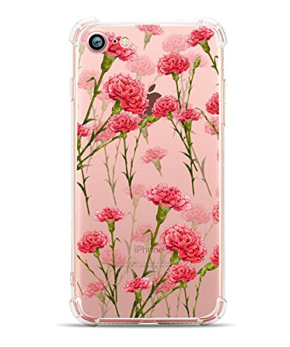 - Hepix iPhone 7 Clear Case iPhone 8 Case Floral Red Carnation Printed iPhone Cases Soft Flexible TPU Transparent Protective Design with Four Bumpers Phone Cover for iPhone 7 / iPhone 8