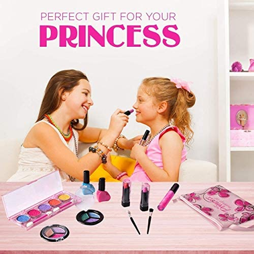 Playkidz My First Princess Washable Make Up Set - 12 Pc Kids Makeup Set - Pretend Makeup for Girls - Makeup Toys for Girls - Comes with Designer Floral Cosmetic Bag