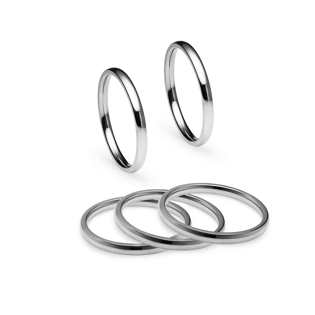 2mm Rings in Stainless Steel Yellow Tone IJewel Set of 5 Stackable Wedding Bands Blue /& Black Finish Rose Tone