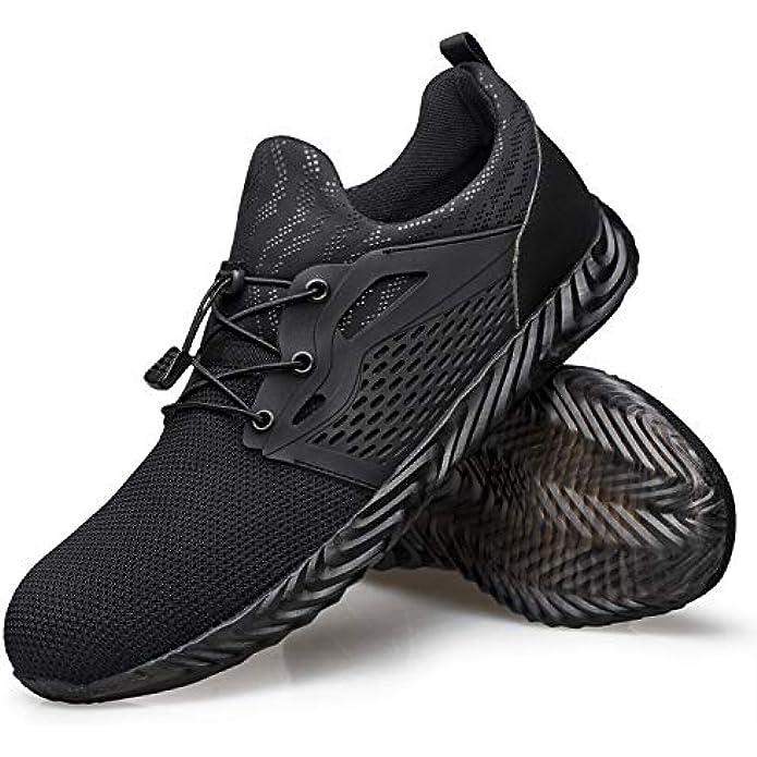 Hongchengye Steel-Toe Work Indestructible Safety Slip-Resistant Composite-Toe Sneaker Tennis Lightweight Breathable Comfortable Shoes Men Women
