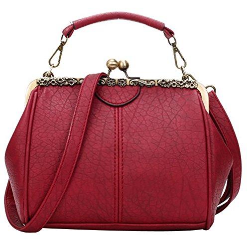 Abuyall Women Small Retro Kiss Lock Pu Leather Vintage Purse Handbag Totes Bag E