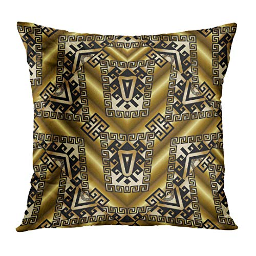 Throw Pillow Cover Tribal Gold Patterns 3D Golden with Geometric Shapes Meander Greek Key Ornaments Design for Mexican Style Decorative Pillow Case Home Decor Square 18x18 Inches Pillowcase