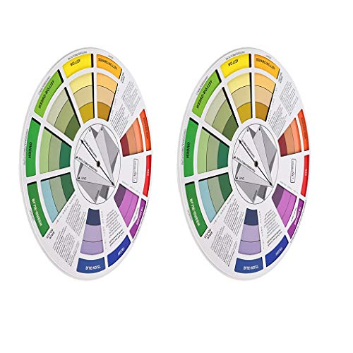 Prettyia 2pcs Portable Coloring Matching Guide Color Wheel Mixing Chart for Blending Tool Hair Beauty Cosmetic Color Matching Tool ()