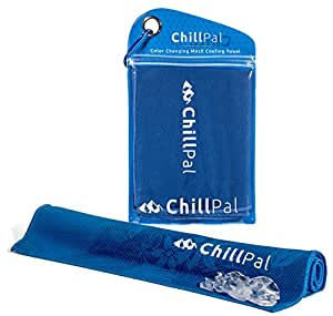 Chill Pal Color Changing Mesh Cooling Towel (Blue) Stay Cool Towel Cold Towel Sports Towel Chill Towels For Sports Men Dogs Kids Neck Bulk Athletes Instant Cooling Relief Yoga Camping Workout