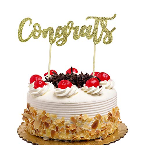 Congrats Cake Topper, Graduation 2019 Cake Decorations, Class of 2019 Grad Party, Cake Toppers for Wedding, Engagement, Retirement, Anniversary, Birthday, Promotion Gold Glitter