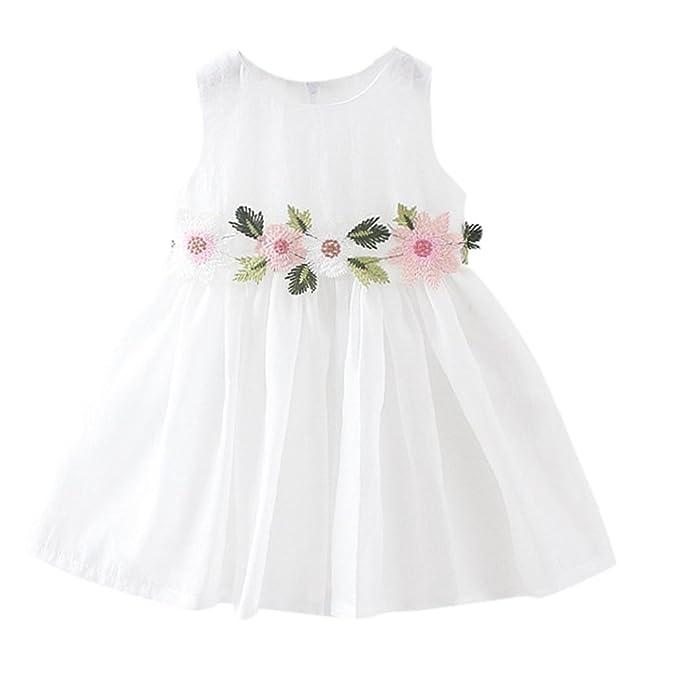 PAOLIAN Ropa para Vestidos para Bebe Niñas Verano Sin Manga Diseño de Hilado Neto Florales Costura