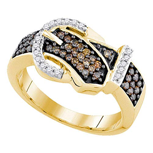 Jewel Tie Size - 7-10k Yellow Gold Round Chocolate Brown And White Diamond Buckle Fashion Ring (1/2 cttw.)
