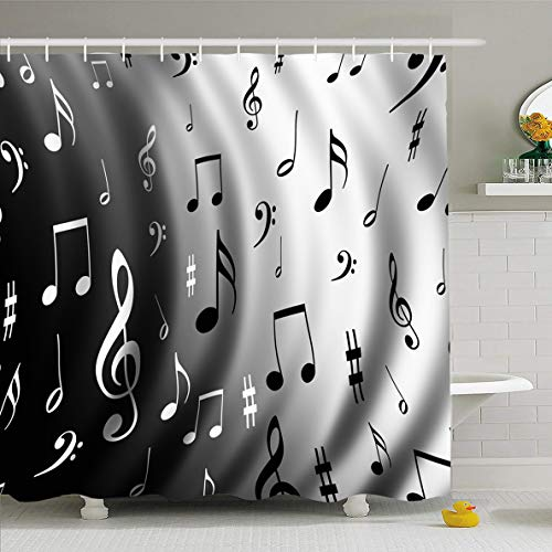 Ahawoso Shower Curtain 72x72 Inches Score Music Notes Abstract Beat Guitar Instrument Musical Musician Waterproof Polyester Fabric Set with Hooks]()