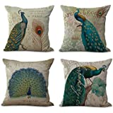 4Pcs Cotton & Linen Square Mermaid Pillow Covers, Throw Pillows Case Cushion Covers Pillowcase Indoor Decorations 18×18 Inches (45×45cm) (Peacock)