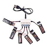 YouCute 6pcs 3.7V 450mAh Battery and charger for Udi U27 U941 U941A U841 U843 U842 FPV U28-1 transmitter RC quadcopter drone spare parts