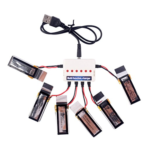 YouCute 6pcs 3.7V 450mAh Battery and charger for Udi U27 U941 U941A U841 U843 U842 FPV U28-1 transmitter RC quadcopter drone spare parts by YouCute