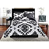 Black & White Damask Full Comforter & Sheet Set (8 Piece Bed In A Bag)