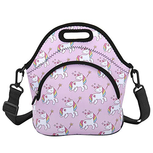 Cute Neoprene Unicorn Lunch Bag Girls with Zipper Pocket and Adjustable Detachable Strap Insulated Lunch Box Foldable Lunch Tote for School Travel Picnic Office (Best Family Washing Machine 2019)