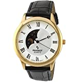 moon dial watch - Peugeot Men's '14k Gold Plated' Quartz Metal and Leather Dress Watch, Color:Black (Model: 2047GBK)