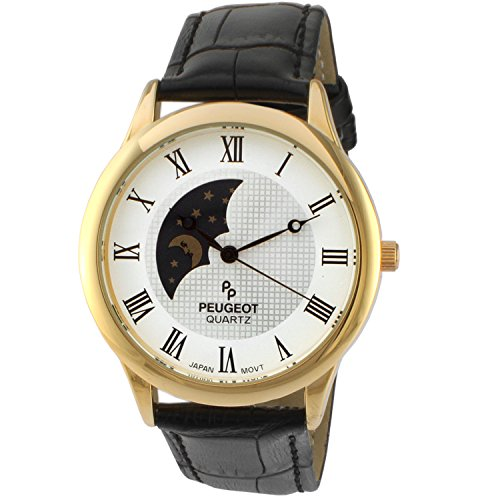 Peugeot Men's '14k Gold Plated' Quartz Metal and Leather Dress Watch, Color:Black (Model: 2047GBK)