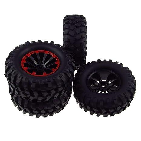 4pcs RC neumáticos y llantas (plástico, 10 Spoke hexagonal 12 mm para 1/