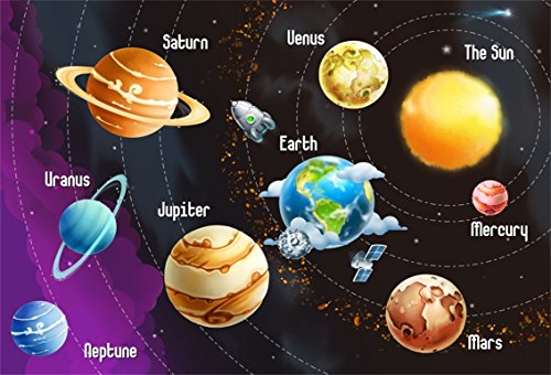 CSFOTO 7x5ft Background For Solar System Planets Name Photography Backdrop Universe Space Rocket Astronomy Mystery Explore