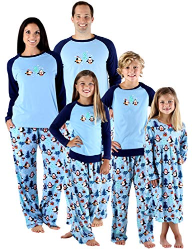 SleepytimePjs Holiday Family Matching Fleece Winter Penguin Pajama PJ Sets-Kids - Blue Top (STMF-3026-K-12)