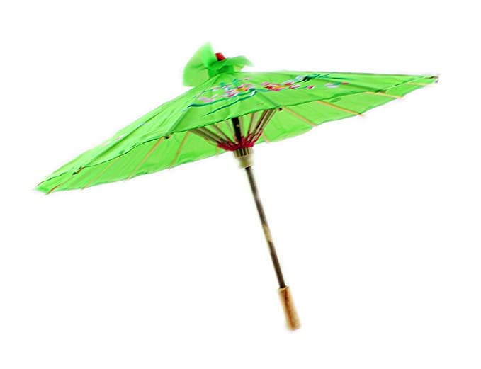 womens fancy dress costume accessory JAPANESE SILK PARASOL WOODEN HANDLE