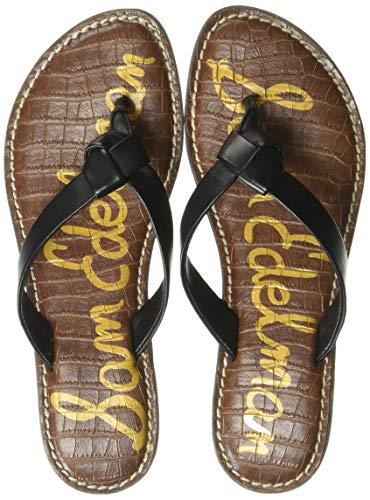 Sam Edelman Women's Giles Sandal, Black Leather, 7.5 M - Black Croco Leather