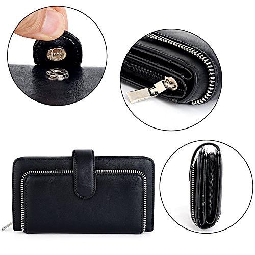 UTO Women PU Leather Wallet RFID Blocking Large Capacity 15 Card Slots Smartphone Holder Snap Closure New Black by UTO (Image #5)