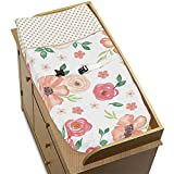 Sweet JoJo Designs Peach, Green and Gold Changing Pad Cover for Watercolor Floral Collection - Pink Rose Flower