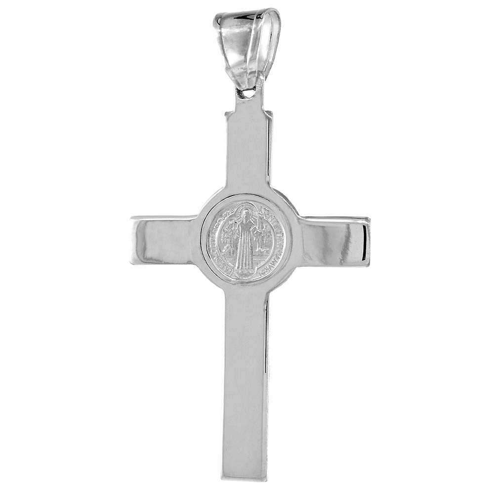 18-30 inch Cuban Chain 2 1//8 inch Sterling Silver Protestant St Benedict Cross Necklace Without Christ High Polished