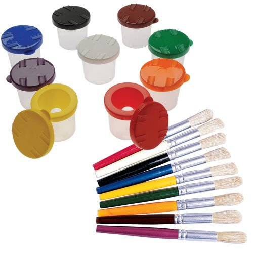 Constructive Playthings CPX-1116 Multi-Color Paint Cups & Brushes