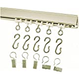 Ceiling Curtain Track Set With Wheeled Carriers, Hooks and Pinch Clips (9' in 2 sections-Silver)