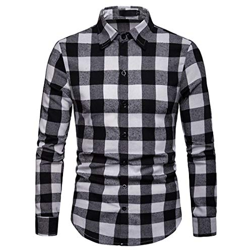 Simayixx Plaid Flannel Blouses Men Tops Cotton Slim Jackets Distressed Long Sleeve Button Casual Work Dress Shirts Tops Coat White