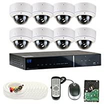 GW Security 8 Channel Tribrid DVR 2.1 Megapixel HD-TVI 1080P Security Camera System with (8) x True HD 1080P Waterproof 2.8-12mm Varifocal Zoom Dome Security Camera