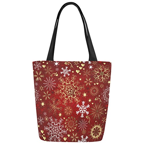 InterestPrint Christmas Snowflake Canvas Tote Bag Handbag Shoulder Bag for Women Girls Christmas Purse