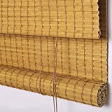 PASSENGER PIGEON Bamboo Window Blinds, Room Darkenning Roll Up Blinds Shades with Valance, 21' W x 72' L, Orange