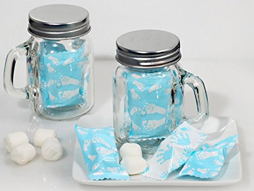 Mint Candy Favors with Mason Jar Boy Feet and Hand Design