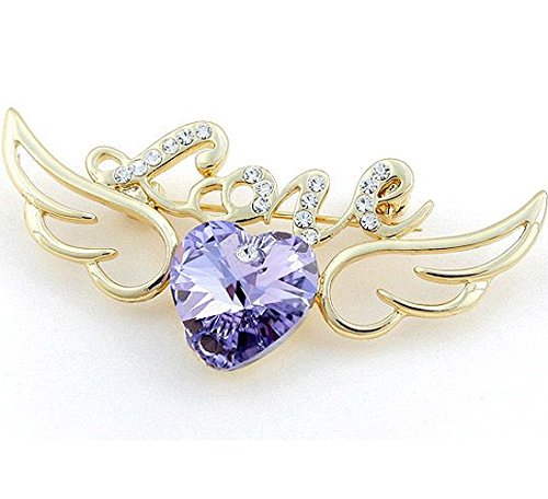 Fashion Jewelry Gorgeous Swarovski Elements Crystal Violet Angel of Love Brooch Pin Rose Gold Plated