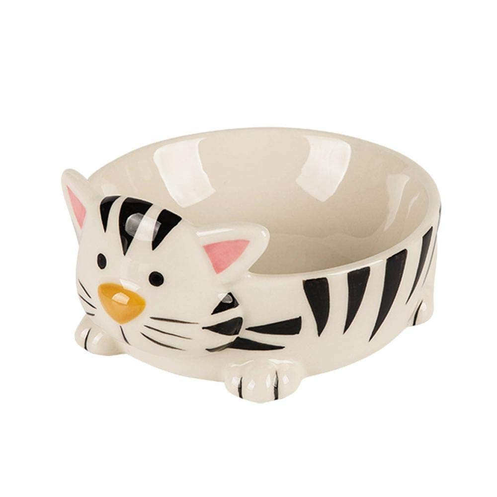 Daeou Pet bowl Creative Ceramic artificial food basin exquisite cat head shape eating basin 16x13.5x7.2cm