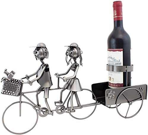 BRUBAKER Wine Bottle Holder Couple on Tandem Bicycle Metal Sculptures and Figurines Decor Wine Racks and Stands Gifts Decoration
