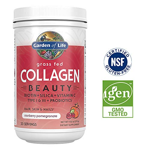 Pomegranate Type - Garden of Life Grass Fed Collagen Beauty Powder for Hair Skin & Nails - Cranberry Pomegranate, 20 Servings - 12g Type I & III Peptides, 11g Collagen Protein, Biotin, Vitamin C, Probiotics, Keto Paleo