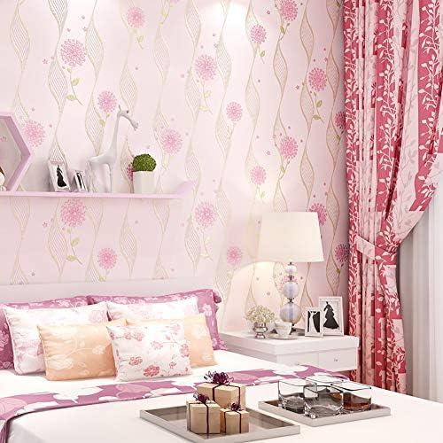 3Dエンボスドフローラル 壁紙 ロール,じゃない-リビングルームの寝室テレビの背景壁のための織り装飾波壁 ライトピンク 0.53*10m