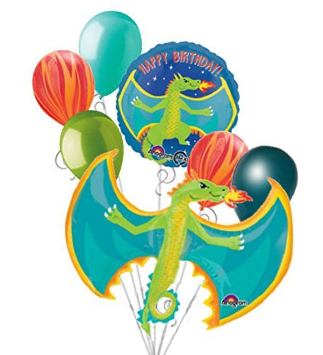 7 pc Flying Fire Breathing Dragon Happy Birthday Balloon Bouquet Party Decor