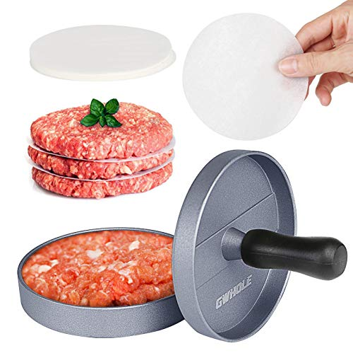 Fantastic Deal! GWHOLE GWHOLE-10 Non-Stick Burger Press Aluminum Hamburger Patty Maker with 100 Wax ...